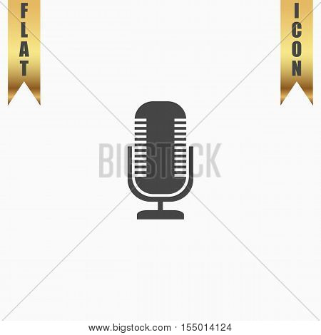 Microphone. Flat Icon. Vector illustration grey symbol on white background with gold ribbon
