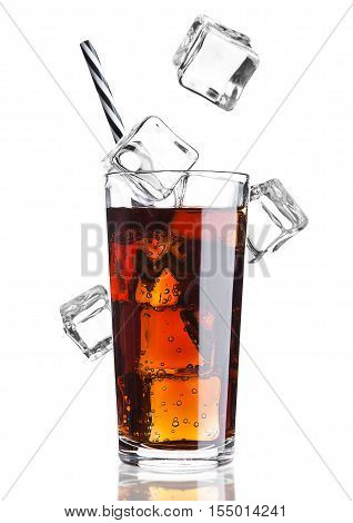 Glass of cola soda drink cold with ice cubes on white background with reflection