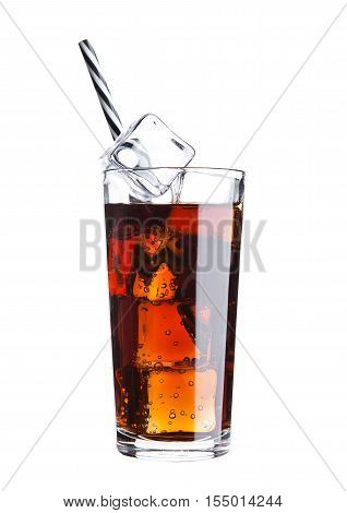 Glass of cola soda drink cold with ice cubes and straw on white background