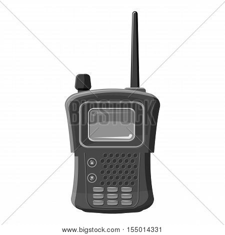 Military radio transmitter icon. Gray monochrome illustration of military radio transmitter vector icon for web