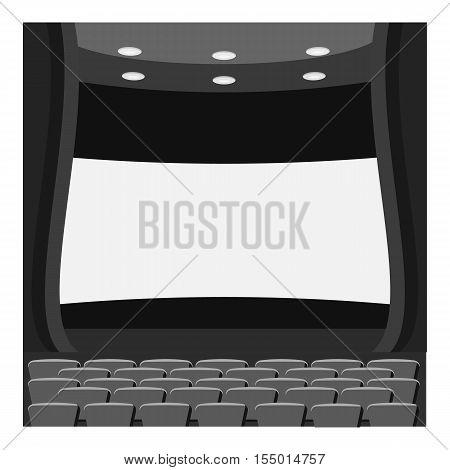 Scene cinema icon. Gray monochrome illustration of scene cinema vector icon for web