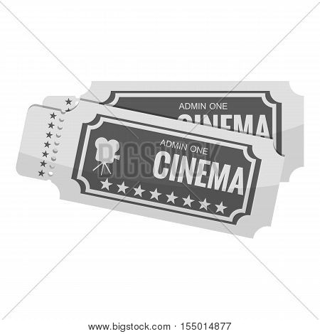 Movie ticket icon. Gray monochrome illustration of movie ticket vector icon for web