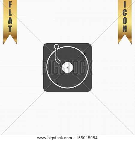 Turntable dj. Flat Icon. Vector illustration grey symbol on white background with gold ribbon