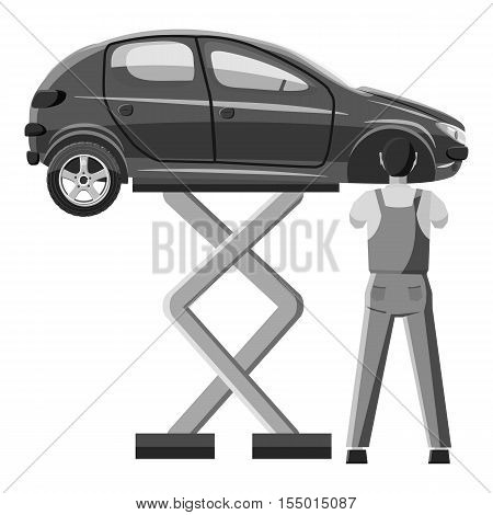 Car is on jack icon. Gray monochrome illustration of car is on jack vector icon for web