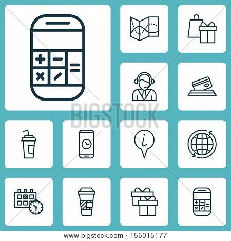 Set Of Travel Icons On Calculation, Call Duration And Shopping Topics. Editable Vector Illustration.