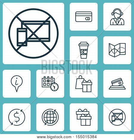 Set Of Travel Icons On Present, Money Trasnfer And Plastic Card Topics. Editable Vector Illustration