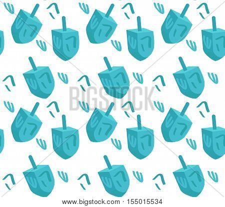 Dreidel seamless pattern. Hanukkah Dreidel seamless texture. Dreidel background. Vector illustration