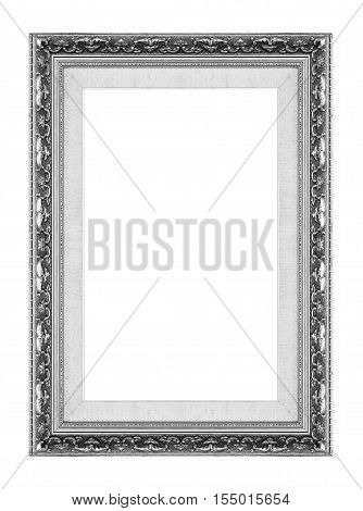 Antique Picture Gray Frame Isolated On White Background, Clipping Path