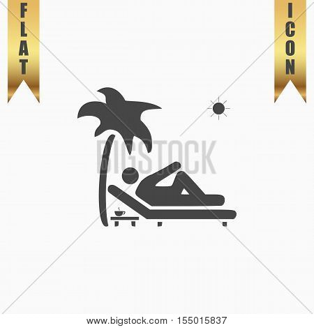 Man relaxing on a deck chair under palm tree and standing table with a cup of coffee. Flat Icon. Vector illustration grey symbol on white background with gold ribbon