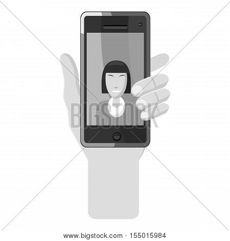 Hand holding phone with photo icon. Gray monochrome illustration of hand holding phone with photo vector icon for web