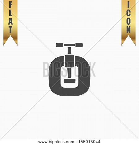 Bench vices. Flat Icon. Vector illustration grey symbol on white background with gold ribbon
