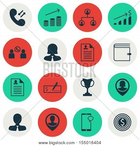 Set Of Management Icons On Female Application, Phone Conference And Tree Structure Topics. Editable