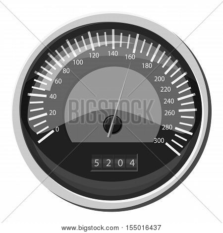 Speedometer at 160 km in hour icon. Gray monochrome illustration of speedometer at 160 km in hour vector icon for web