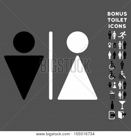 WC Persons icon and bonus man and woman lavatory symbols. Vector illustration style is flat iconic bicolor symbols, black and white colors, gray background.