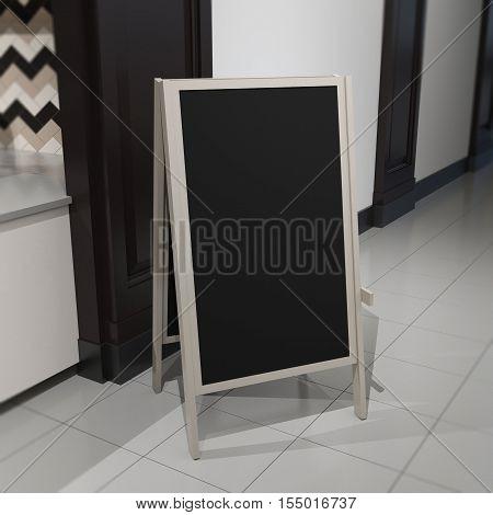 Rectangular empty slate signboard mockup on blurred dark brown cafe fasad background.3d model illustration template render.