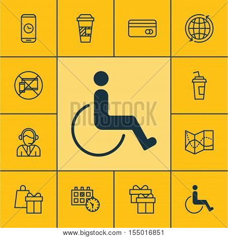 Set Of Airport Icons On Accessibility, Shopping And Operator Topics. Editable Vector Illustration. I