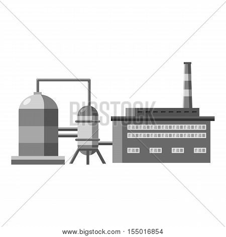 Plant with tanks for storage of liquid icon. Gray monochrome illustration of plant with tanks for storage of liquid vector icon for web