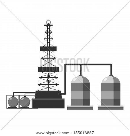 Refinery icon. Gray monochrome illustration of refinery vector icon for web