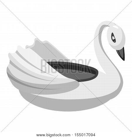 Bumper boat swan icon. Gray monochrome illustration of bumper boat swan vector icon for web