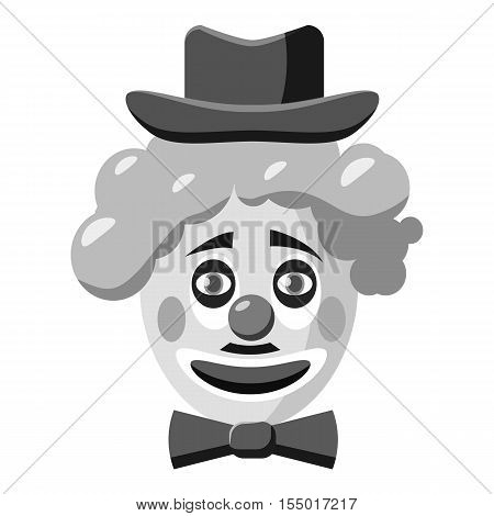 Clown face with hat icon. Gray monochrome illustration of clown face with hat vector icon for web