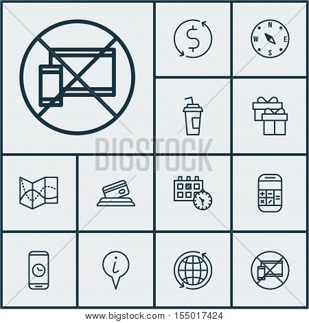 Set Of Airport Icons On Calculation, Credit Card And Road Map Topics. Editable Vector Illustration.