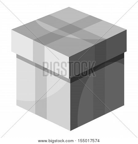 Box with lid icon. Gray monochrome illustration of box with lid vector icon for web