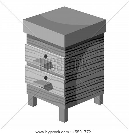 Beehive icon. Gray monochrome illustration of beehive vector icon for web