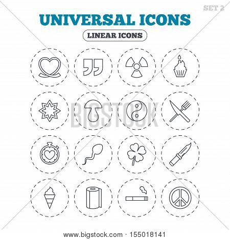 Universal icons. Quotes, ribbon heart and cake. Clover, mushroom and ice cream. Smoking, knife and fork. Round flat buttons with linear icons. Vector