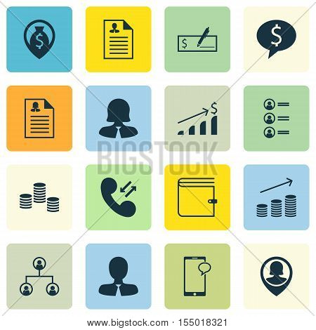 Set Of Hr Icons On Pin Employee, Money And Bank Payment Topics. Editable Vector Illustration. Includ