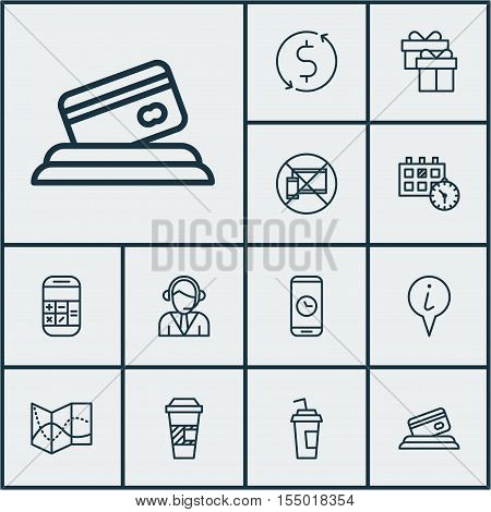 Set Of Airport Icons On Info Pointer, Credit Card And Call Duration Topics. Editable Vector Illustra
