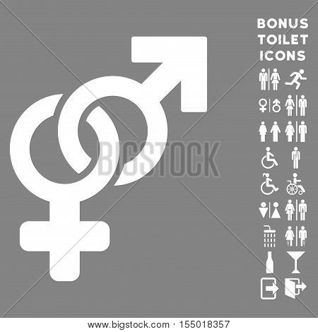 Heterosexual Symbol icon and bonus man and woman restroom symbols. Vector illustration style is flat iconic symbols, white color, gray background.