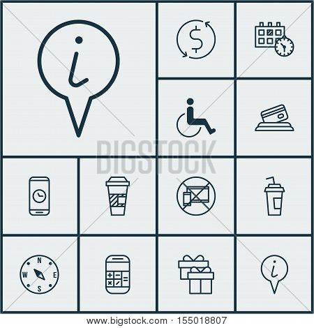 Set Of Travel Icons On Calculation, Drink Cup And Appointment Topics. Editable Vector Illustration.