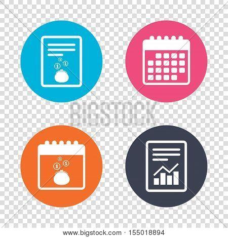 Report document, calendar icons. Wallet sign icon. Cash coins bag symbol. Transparent background. Vector