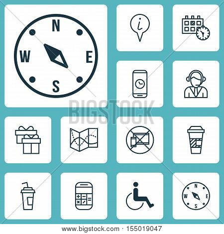 Set Of Airport Icons On Appointment, Info Pointer And Locate Topics. Editable Vector Illustration. I