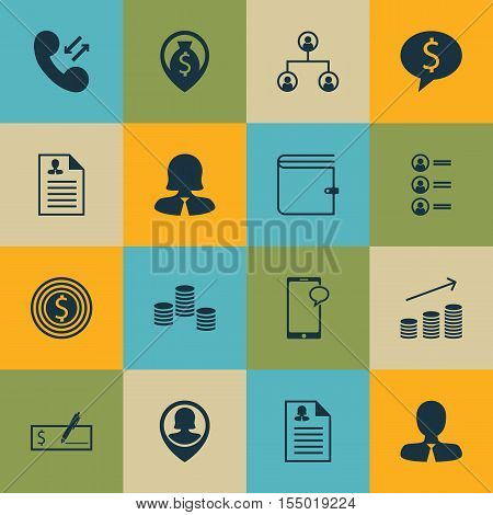 Set Of Management Icons On Bank Payment, Curriculum Vitae And Tree Structure Topics. Editable Vector