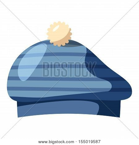 Blue hat with a pompon icon. Cartoon llustration of blue hat with a pompon vector icon for web