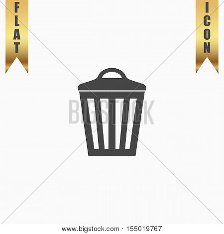 Trash can. Flat Icon. Vector illustration grey symbol on white background with gold ribbon