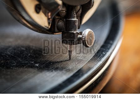 Needle Of Very Old Gramophone Playing Music, Macro Shot