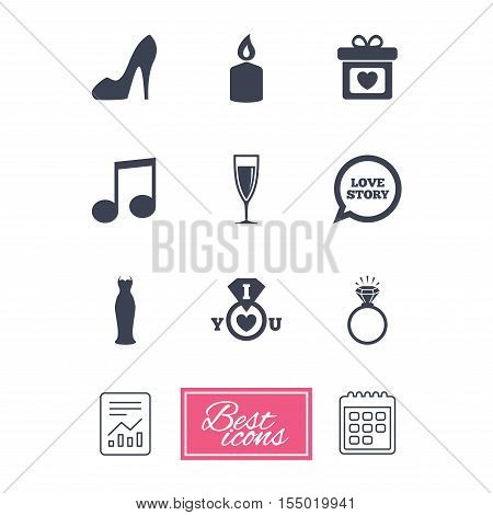 Wedding, engagement icons. Ring with diamond, gift box and music signs. Dress, shoes and champagne glass symbols. Report document, calendar icons. Vector