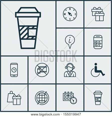 Set Of Airport Icons On Calculation, Operator And Call Duration Topics. Editable Vector Illustration