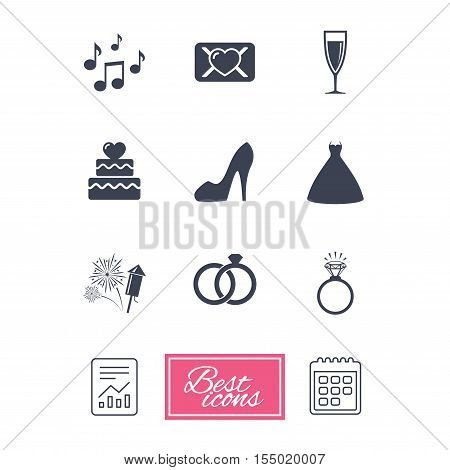 Wedding, engagement icons. Cake with heart, gift box and vow love letter signs. Dress, fireworks and musical notes symbols. Report document, calendar icons. Vector