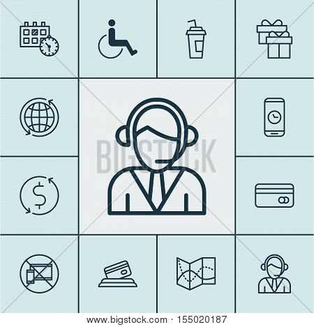 Set Of Airport Icons On Forbidden Mobile, Operator And Road Map Topics. Editable Vector Illustration