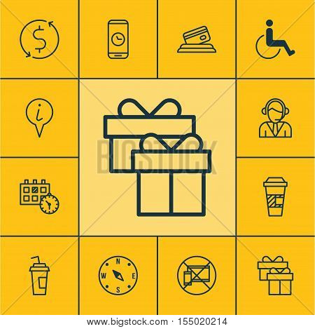 Set Of Transportation Icons On Takeaway Coffee, Locate And Forbidden Mobile Topics. Editable Vector