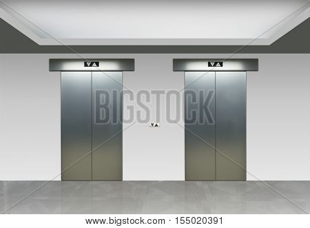 3D illustration of elevators in a modern white hall