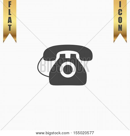 Office telephone. Flat Icon. Vector illustration grey symbol on white background with gold ribbon