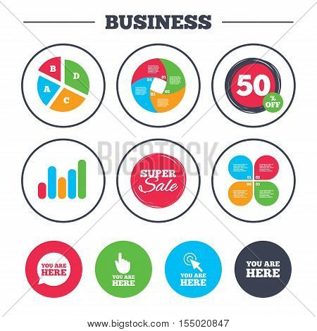 Business pie chart. Growth graph. You are here icons. Info speech bubble symbol. Map pointer with your location sign. Hand cursor. Super sale and discount buttons. Vector