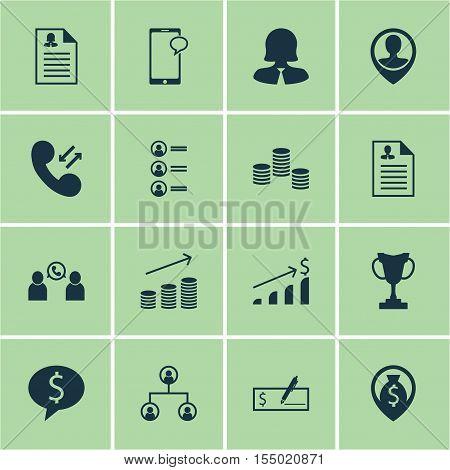 Set Of Management Icons On Tournament, Curriculum Vitae And Money Topics. Editable Vector Illustrati