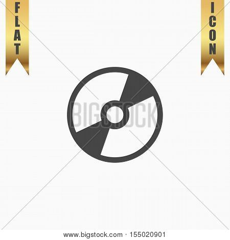 CD or DVD. Flat Icon. Vector illustration grey symbol on white background with gold ribbon