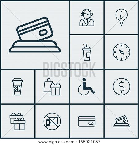 Set Of Transportation Icons On Drink Cup, Operator And Money Trasnfer Topics. Editable Vector Illust