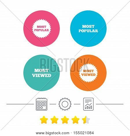 Most popular star icon. Most viewed symbols. Clients or customers choice signs. Calendar, cogwheel and report linear icons. Star vote ranking. Vector